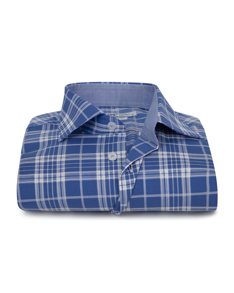 XOOS Men's fitted blue checkered dress shirt