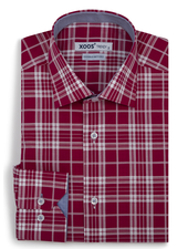 XOOS Men's fitted red checkered dress shirt