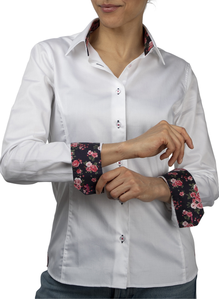 XOOS Chemisier femme blanc doublure florale noire et boutons blancs