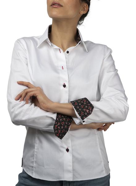 XOOS Chemisier femme blanc doublure florale noire et boutons noirs