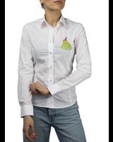 XOOS Chemisier femme blanc broderie pectorale paon et doublure tropicale