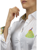 XOOS WOMEN'S white shirt with Peacock embroidery and tropical lining