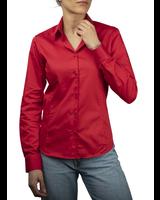 XOOS Chemisier femme rouge galon noir
