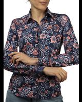 XOOS Chemisier femme marine à motif imprimé floral corail