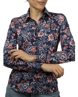 XOOS WOMEN'S navy blue and coral floral print shirt