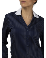 XOOS Chemisier femme financier navy à fines rayures et col claudine