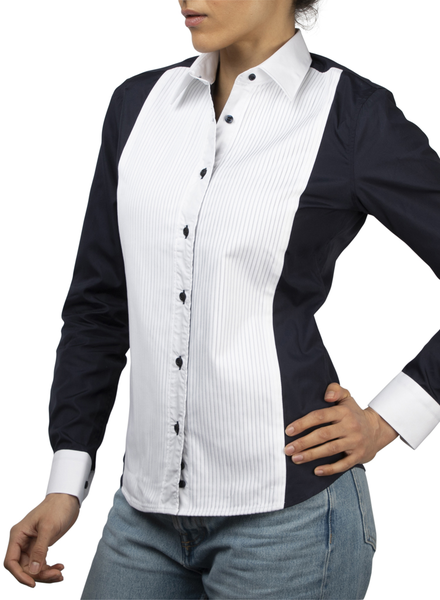 XOOS Chemisier femme plastron plissé navy and white