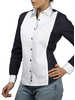 XOOS WOMEN'S navy cotton pleated plastron dress shirt