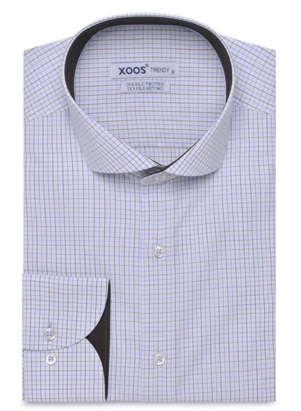 XOOS CLASSIC FIT Blue checkered full cutaway collar shirt (Double Twisted cotton)
