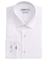 XOOS Men's white dress shirt indigo blue braid