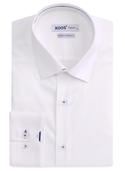 XOOS Men's white dress shirt indigo blue braid