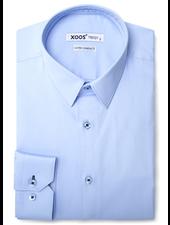 XOOS Men's light blue dress shirt navy blue braid
