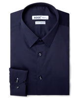 XOOS Men's navy blue dress shirt light blue braid