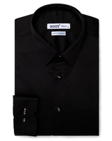 XOOS Men's black dress shirt gray braid