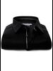 XOOS Men's black dress shirt gray braid