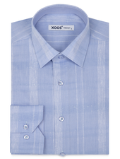 XOOS Men's light blue tone on tone checks dress shirt
