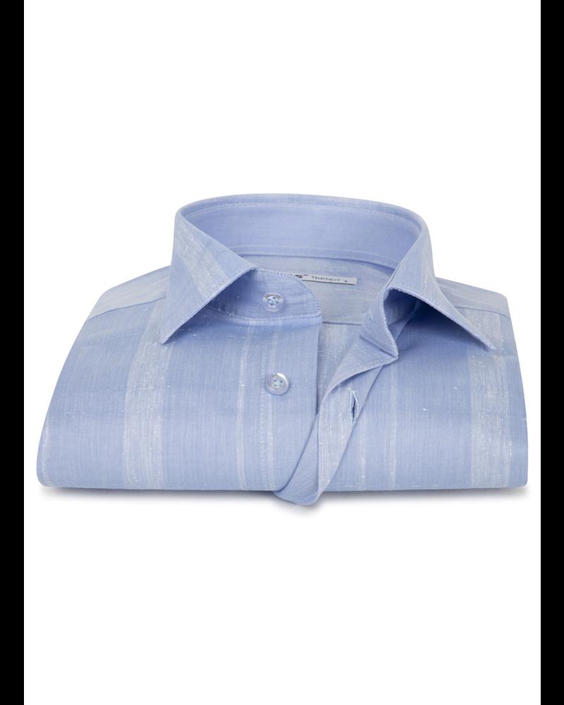 XOOS Men's light blue tone on tone checks dress shirt