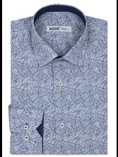 XOOS Men's navy blue floral print dress shirt