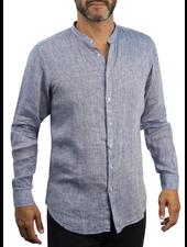 XOOS Men's blue linnen dress shirt - Officer collar