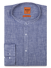 XOOS Men's blue linnen dress shirt - Officer collar