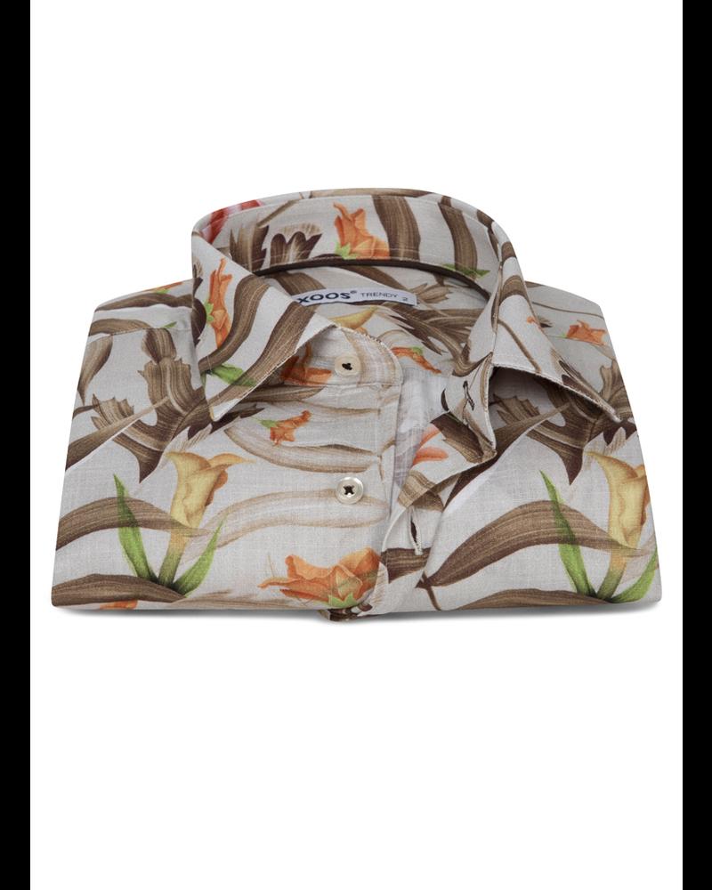 XOOS Men's gray short sleeves dress shirt with brown floral print