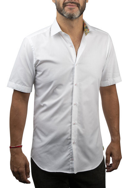 XOOS Men's white short sleeves dress shirt with yellow floral print and white buttons (Double Twisted)