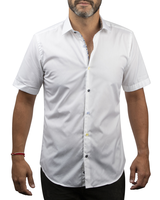 XOOS Men's white short sleeves dress shirt with floral print and black buttons (Double Twisted)