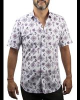 XOOS Men's boating printed short sleeves dress shirt