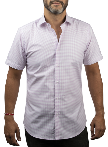 XOOS Men's lavander checks short sleeves dress shirt (Double Twisted)