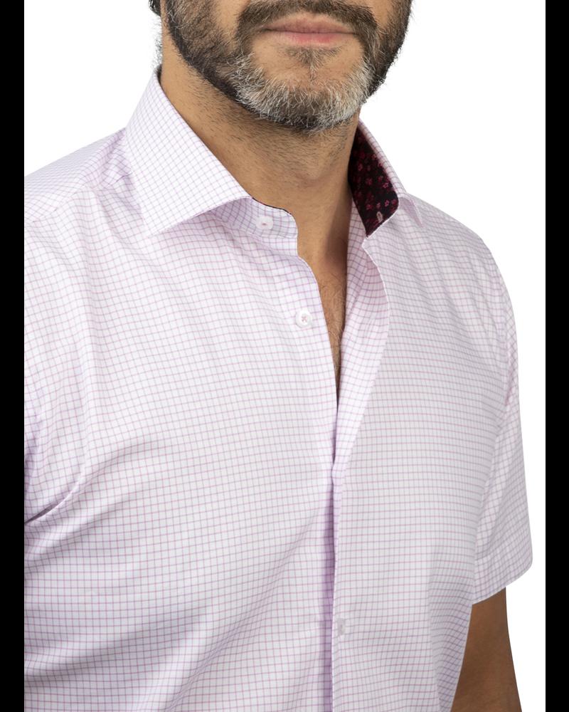 XOOS Men's lavander checks short sleeves dress shirt (Double Twisted)