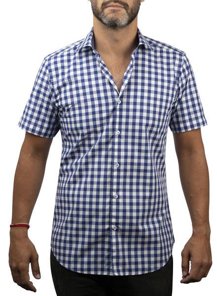 XOOS Men's navy blue checks short sleeves dress shirt and gingham lining