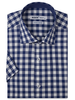 XOOS Men's navy blue checks short sleeves dress shirt and gingham lining