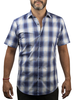 XOOS Men's navy blue checks short sleeves dress shirt and light blue lining (Double Twisted)
