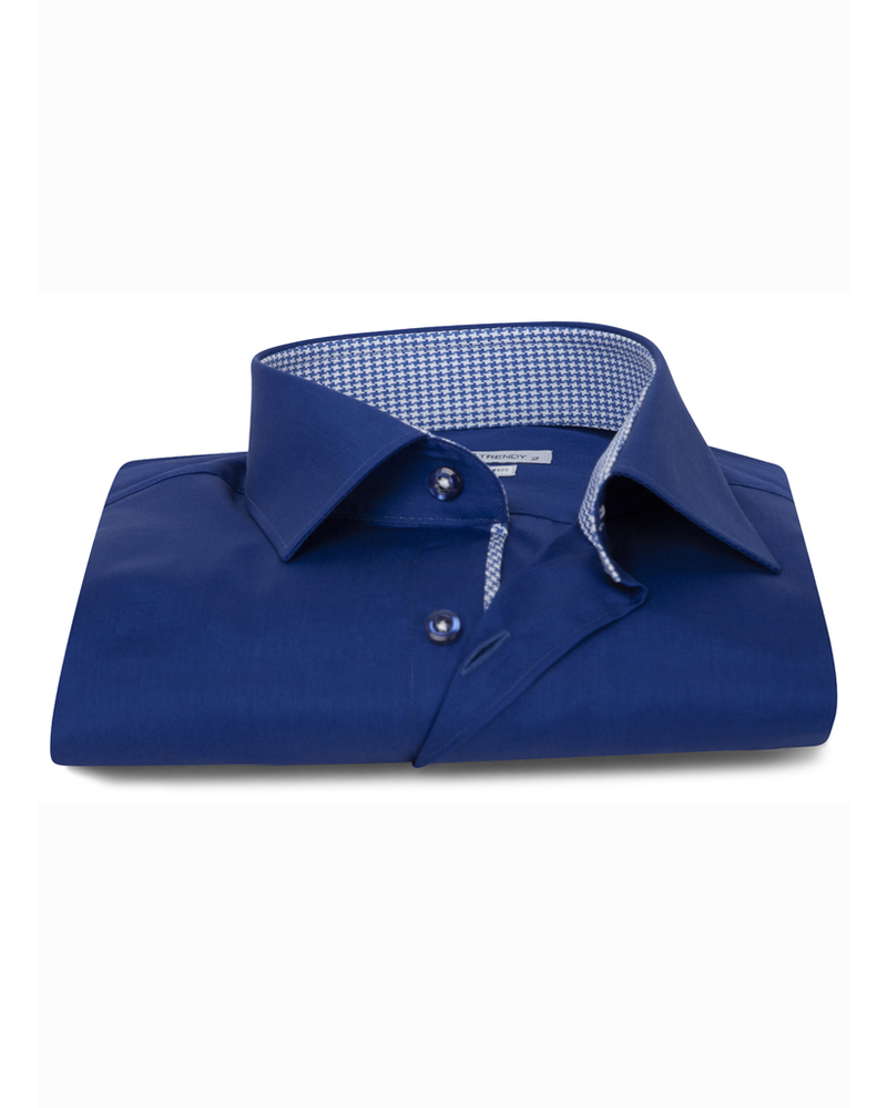 XOOS Men's blue dress shirt houndstooth lining (Double Twisted)