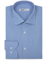 XOOS Men's turquoise blue checkered dress shirt