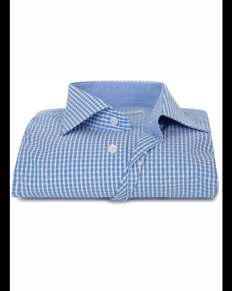 XOOS Men's turquoise blue checkered dress shirt