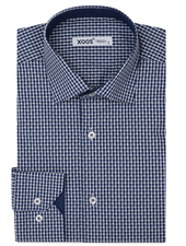 XOOS Men's navy blue checkered dress shirt