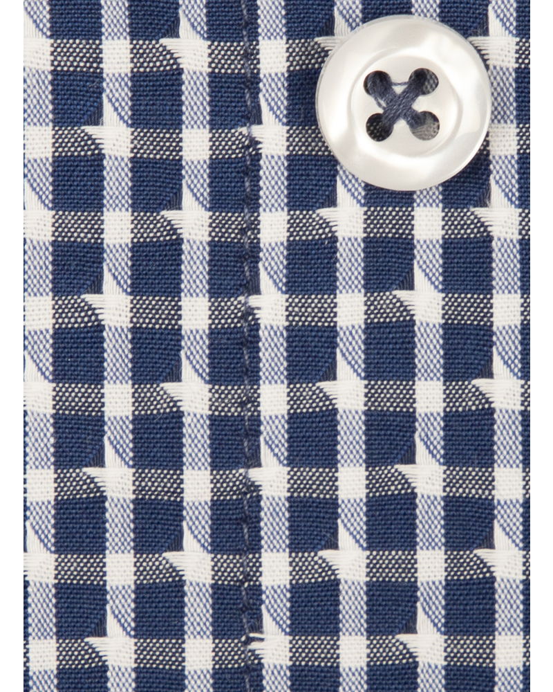 XOOS Men's navy blue checkered dress shirt