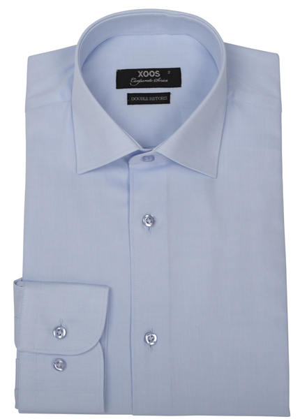 XOOS Men's light blue gabardeen cotton dress shirt (Double Twisted)