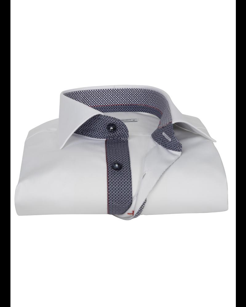 XOOS Men's white dress shirt Half hidden navy printed placket