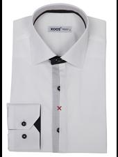 XOOS Men's white dress shirt Half hidden polka dots placket