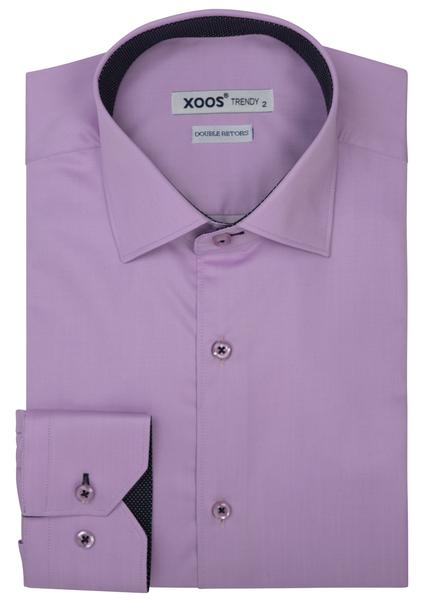 XOOS Men's Pink gabardeen cotton dress shirt polka dots lining (Double Twisted)