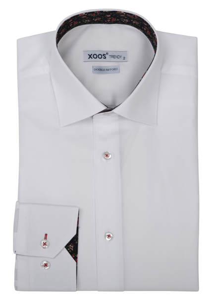 XOOS Men's white dress shirt black floral lining (Double Twisted)