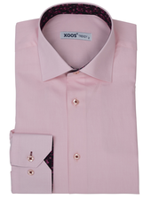XOOS Men's pink dress shirt black floral lining (Double Twisted)