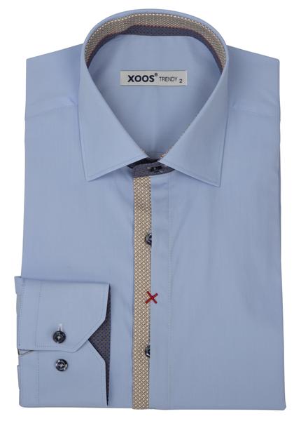 XOOS Men's light blue dress shirt Half hidden printed patterns placket