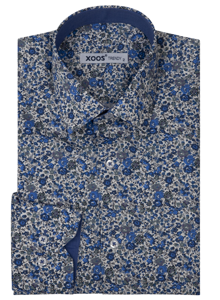 XOOS Men's blue floral print dress shirt