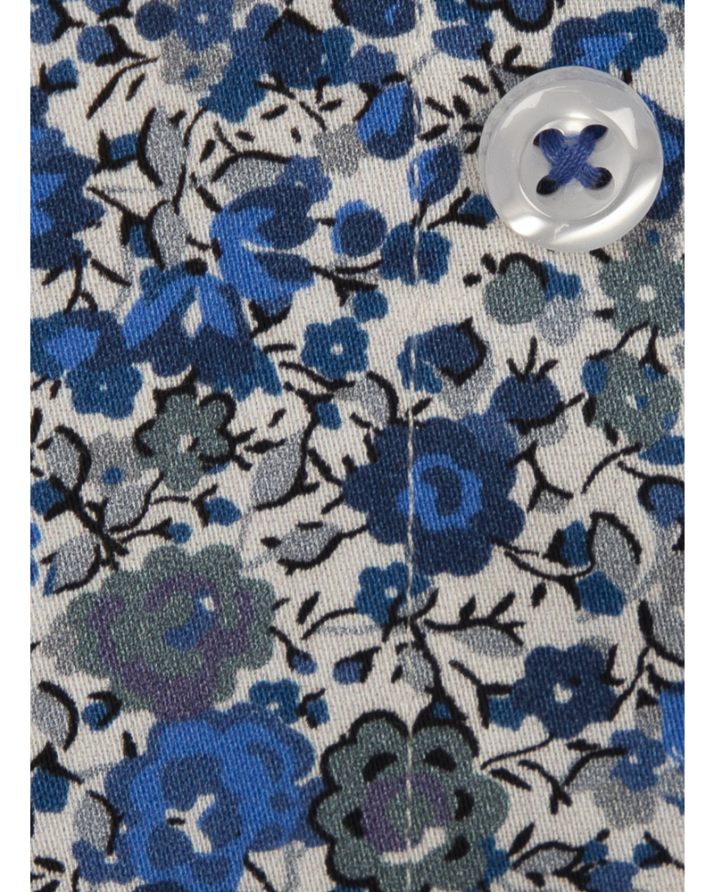 XOOS Men's blue floral print dress shirt