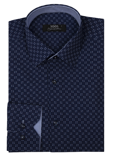 XOOS Men's navy blue print dress shirt