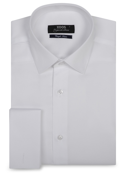 XOOS Men's white french cuffs dress shirt