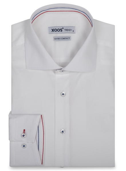 XOOS Men's white dress shirt Tricolore braid